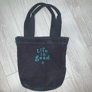 Life is good mini canvas tote bag